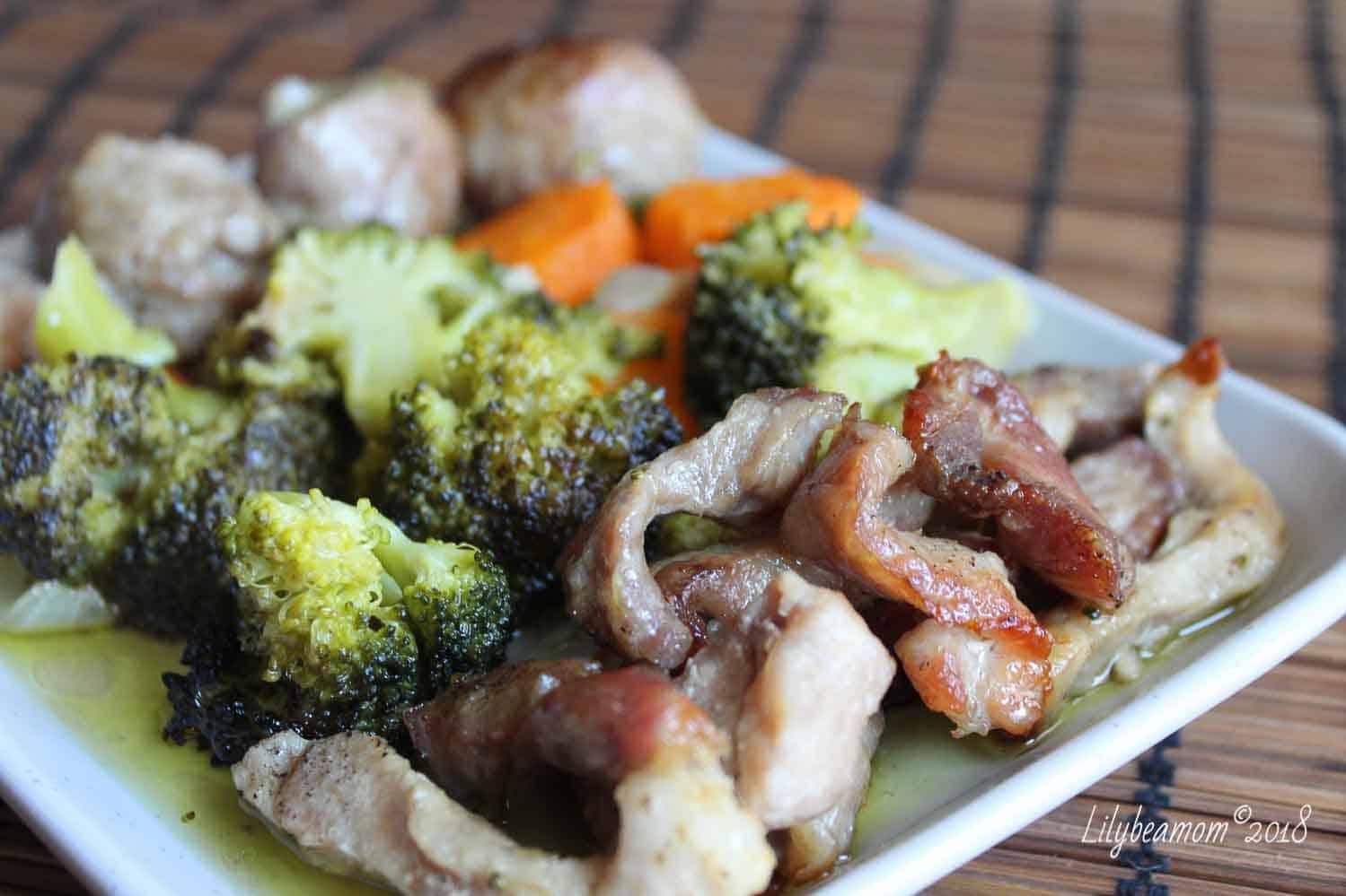 Maiale al forno con verdure